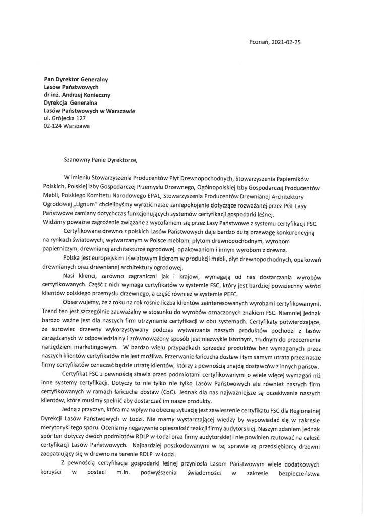 Certyfikat FSC I PIGPD I Polska Izba Gospodarcza Przemysłu Drzewnego I drewno I tartak I paleta I pellet